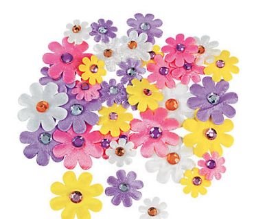 Daisies with Jewel Centre Self-Adhesive-36Pk