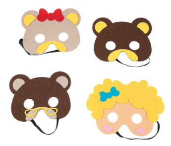 Goldilocks & the Three Bears Masks - 4Pk
