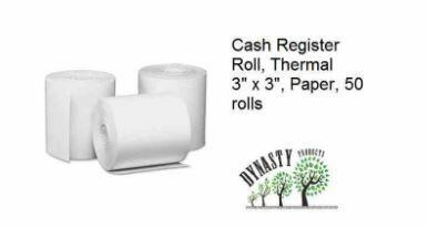 """Cash Register Rolls, Thermal, 3"""" x 3"""", Paper, 50 rolls, 9x6/S"""