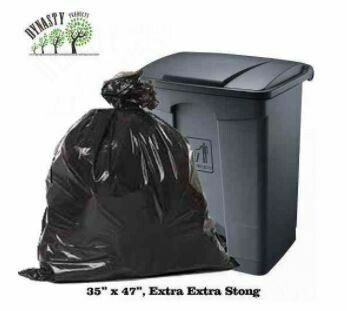 "Black Garbage Bags, 35"" x 47"", Extra Extra Strong, 3mil, 50 pcs"