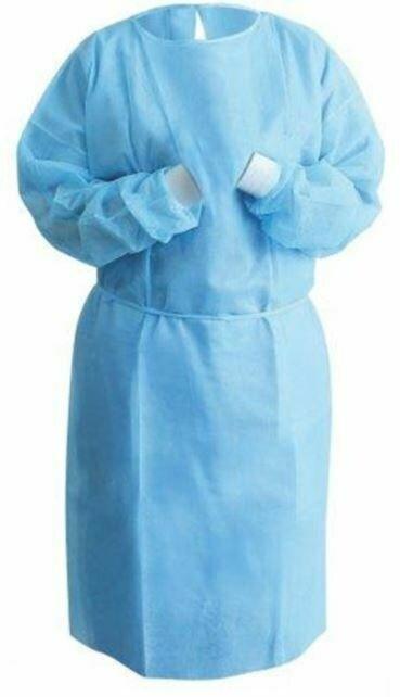Isolation Gown, 25GSM, 115 x 137 cm, Blue, 10 pcs/bag