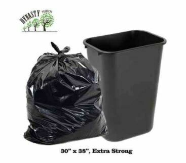 "Black Garbage Bags, 30"" x 38"", Ex-Strong, 100 pcs"