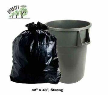 """Black Garbage Bags, 42"""" x 48"""", Strong, 150 pcs"""