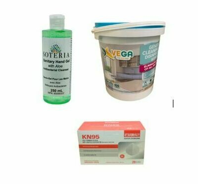 SOTERIA Sanitary Hand Gel 70% Alcohol 250ml, Vega All Purpose Cleaning and Disinfecting Wipes 400/tub and KN95 Protective Mask 20/Box