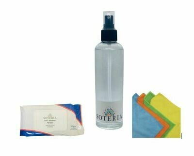 SOTERIA Sterilization Spray 80% Alcohol, 250 ml, 5 Bottles + Microfibre Cloth (Washable/Reusable) 5 Cloths and Alcohol HAND WIPES 75% by Soteria 50/Pack, 5 Packs