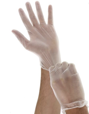 DermaTuff Vinyl Gloves (Clear): 100/ BOX