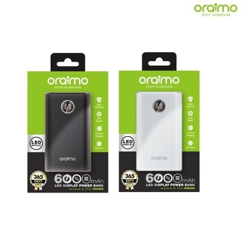 Oraimo Power Bank 6000mAh - Double USB - Lampe Torche - Noir