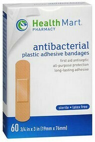 Adhesive Bandages by Health Mart / One Size / 60ct (ANTIBACTERIAL)