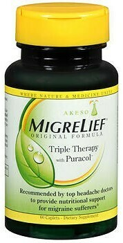 MigreLief Original Formula Triple Therapy With Puracol 60 Caplets