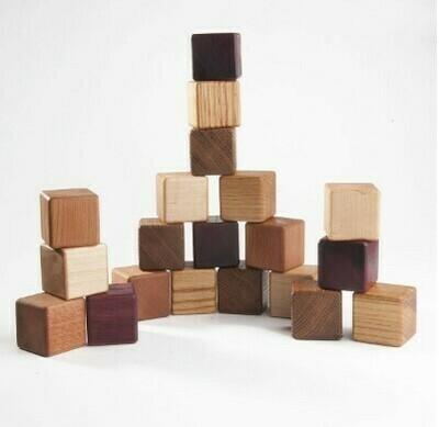 """Деревянные кубики """"5 пород"""", 20 штук, Леснушки"""