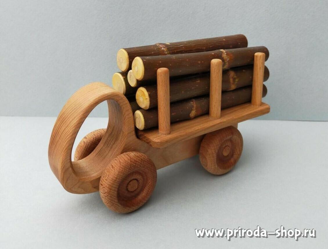 """Деревянный грузовичок """"Лесовозик"""", мастерская PRIRODA shop"""