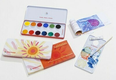 Краски акварельные Stockmar (Штокмар), твердые ОПАК, в жестяной упаковке, 12 цветов
