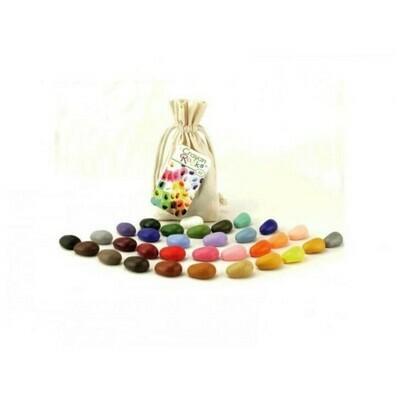 Мелки-камушки восковые Crayon Rocks (Крайон Рокс), набор 32 цвета в льняном мешочке