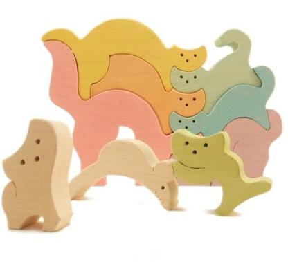 """Деревянный паззл-пирамидка """"Кошки-мышки"""""""