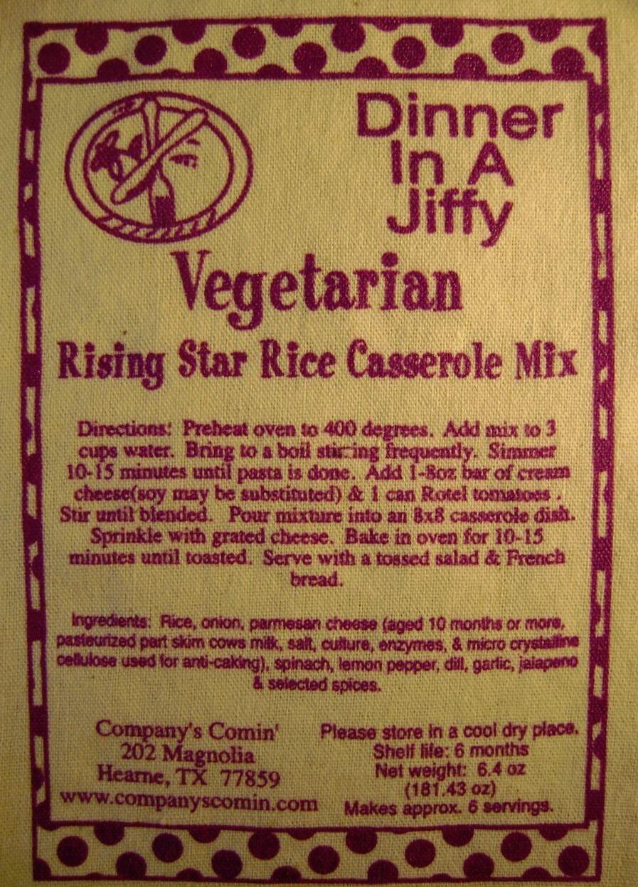 Rising Star Rice Casserole Mix (Vegetarian)