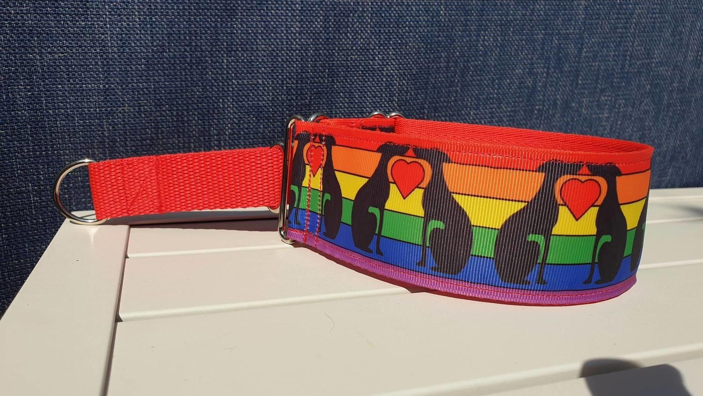 One Love Rainbow Greyhound Design by Jane Wren