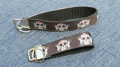 Key Fob or Bag Clip Flower Skulls Design