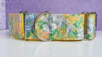 Vintage Laura Ashley Fabric Limited Edition Martingale Collar, House or Clip 'Yellow Border'