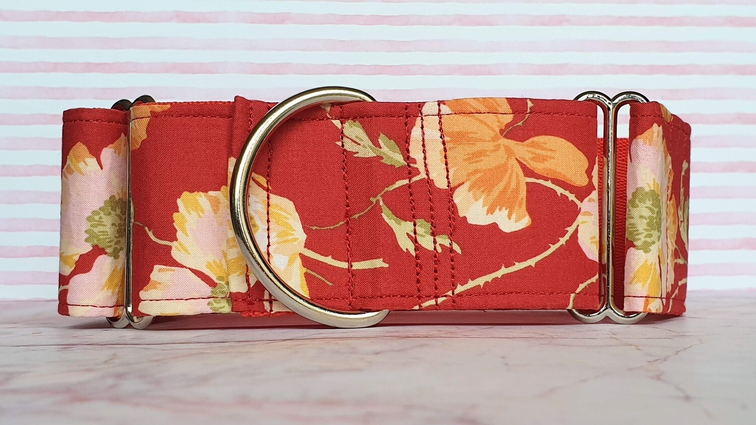 Vintage Laura Ashley Fabric Limited Edition Martingale Collar, House or Clip 'Poppy'