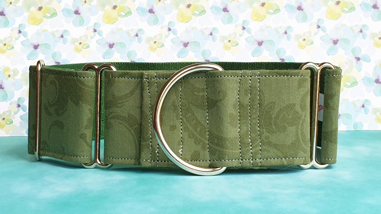 Vintage Laura Ashley Fabric Limited Edition Martingale Collar, House or Clip 'Damask'