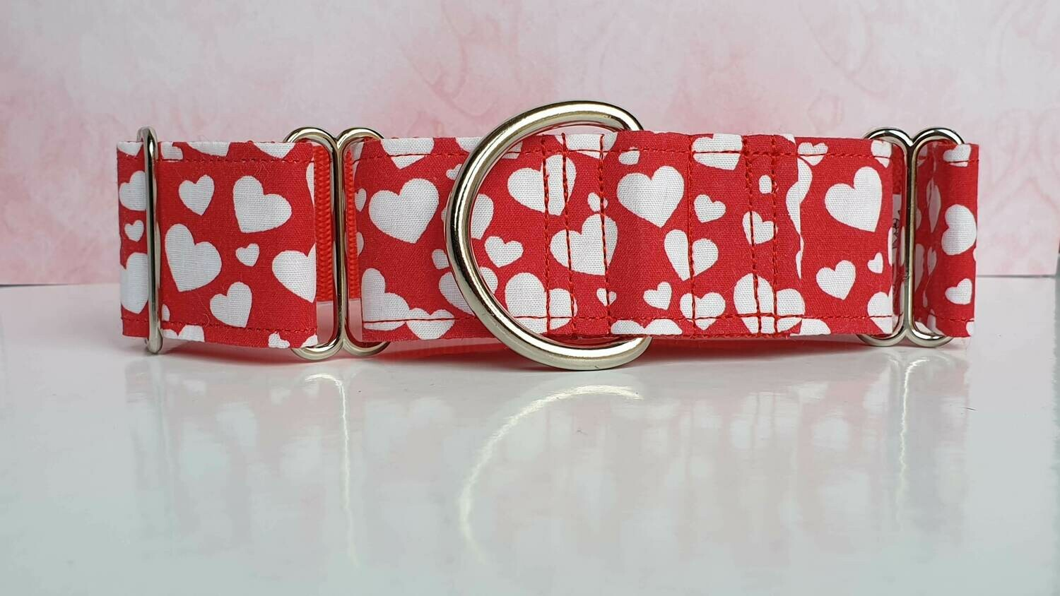 Collar 'Love hearts' Martingale, House or Clip