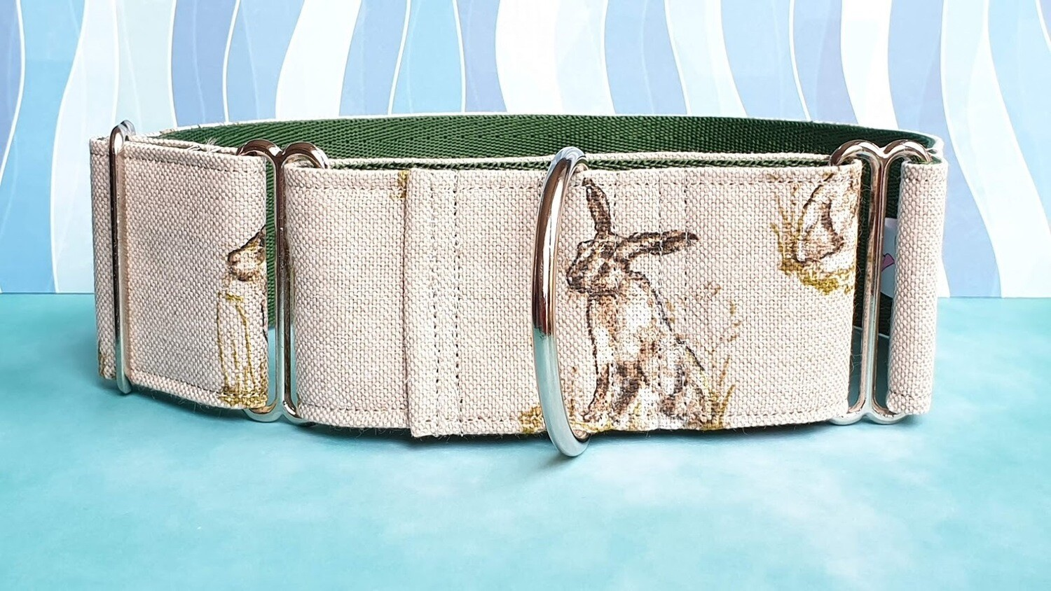Collar 'Bunnies' Martingale, House or Clip Showing Sketched Rabbits