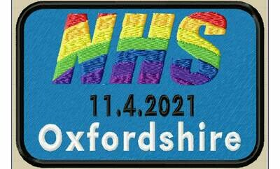 The NHS Ride Out 11/04/2021 Souvenir Patch Fundraising With Rainbow Design. Customisable.