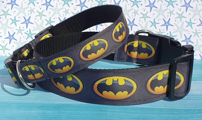 Ribbon Collar 'Batman' Design Martingale, Clip or House