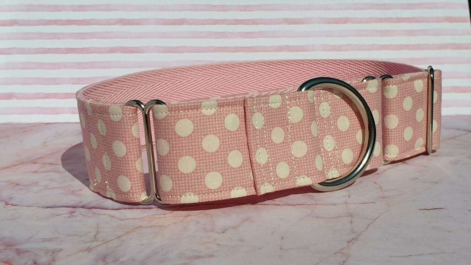 Collar 'Pink Spots' pink and Cream Cotton Tilda Fabric