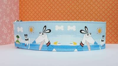 Collar 'Waltah Holiday' Martingale, House or Clip Showing Cartoon Character Waltah the Hound.