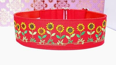 Embroidered Collar 'Glorious Sunflowers' Martingale, House or Clip