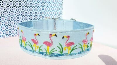Embroidered Collar 'Flamingos' Martingale, House or Clip
