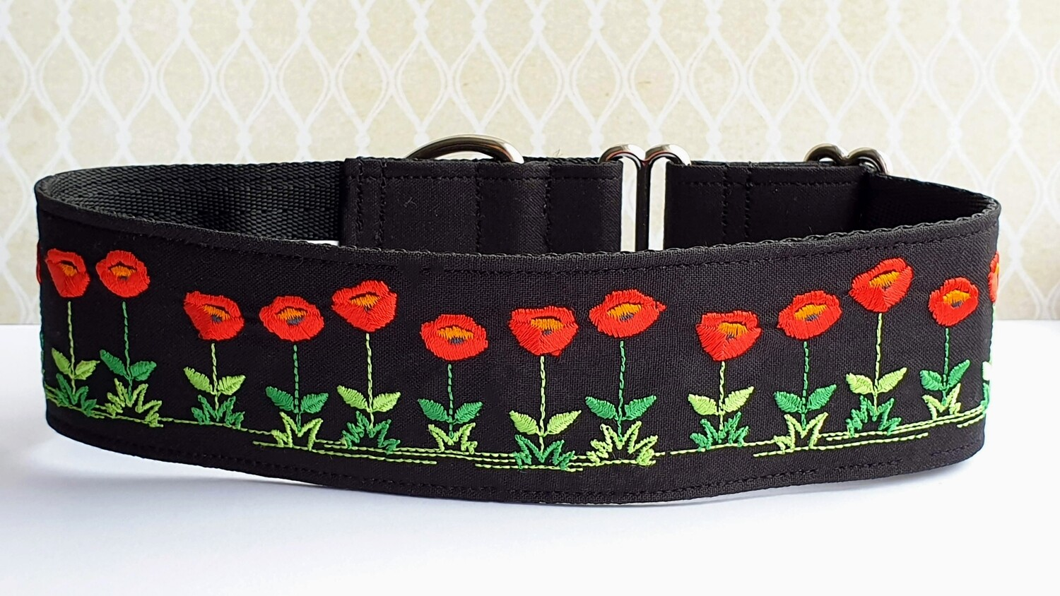 Embroidered Collar 'Poppy Garden' Martingale, House or Clip