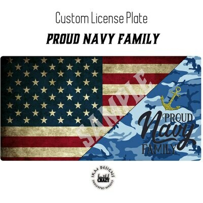 License Plate: Proud Navy Family