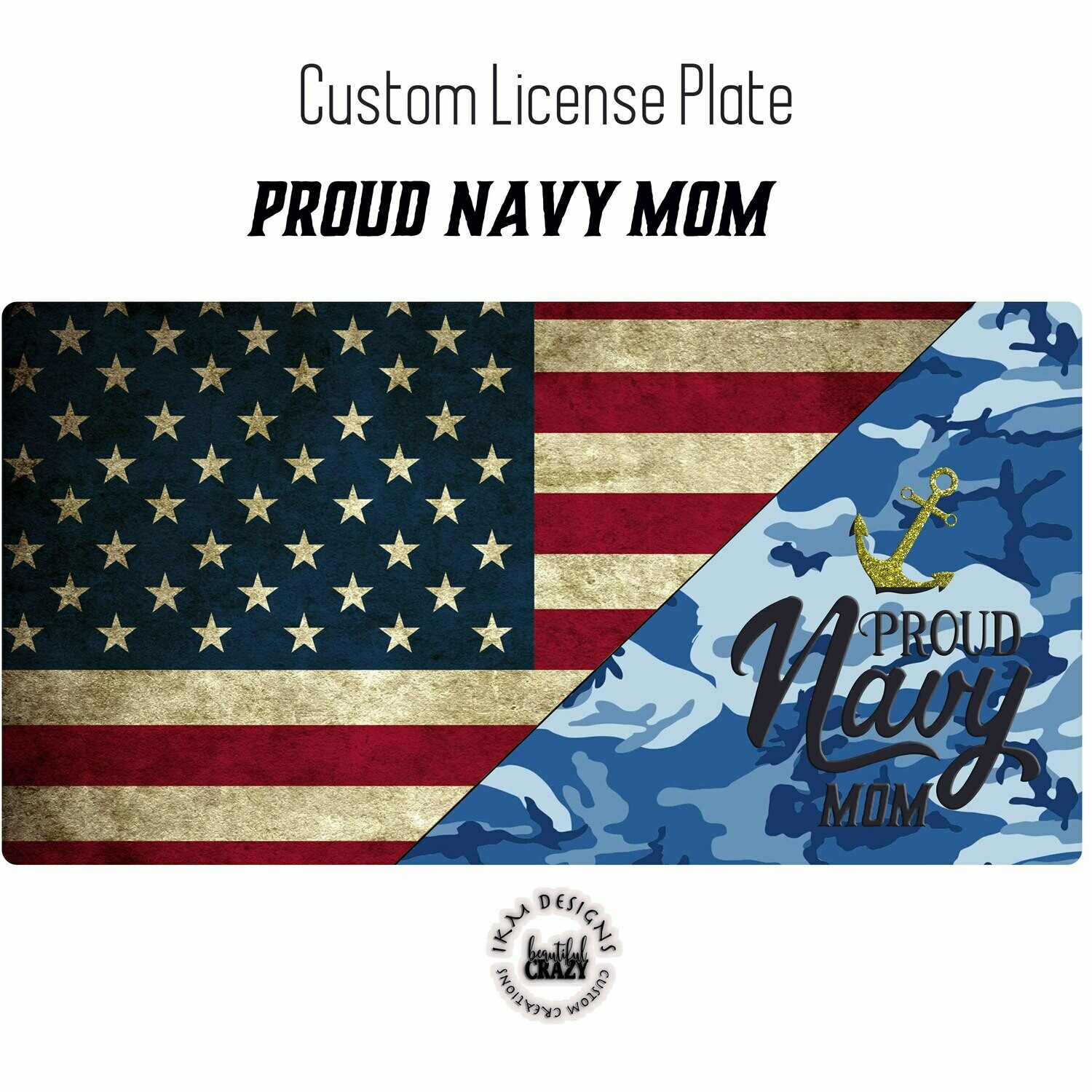 License Plate: Proud Navy Mom