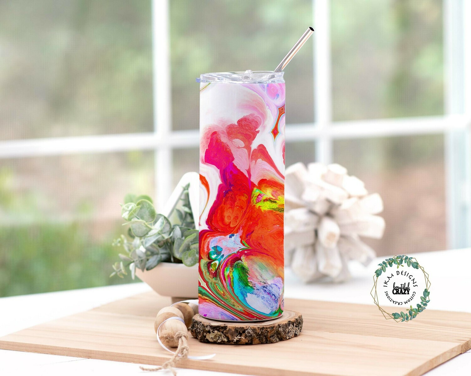 Color Marble Skinny Tumbler Lid/Straw included