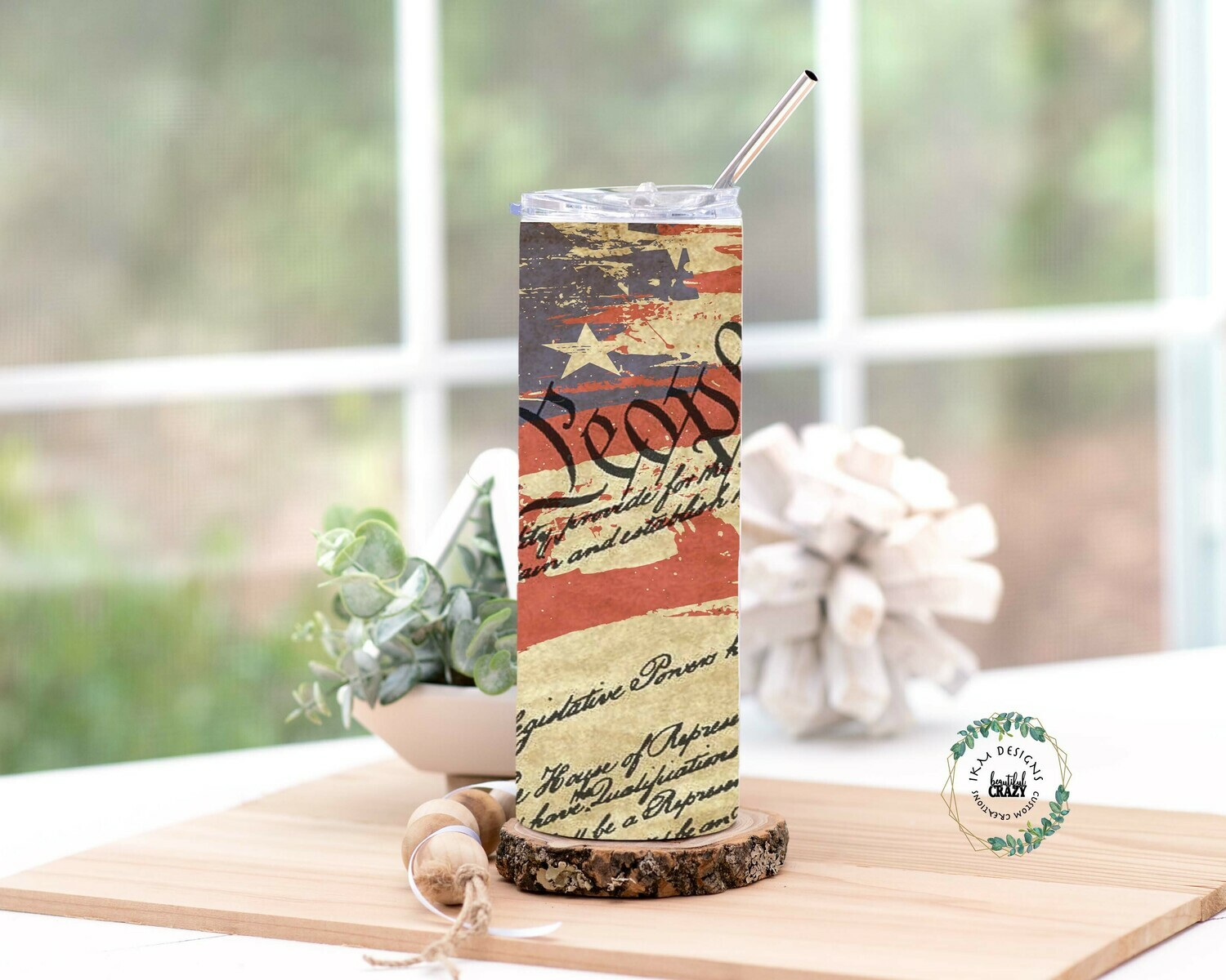"""20oz Skinny Tumbler Lid/Straw included """" We the people"""""""