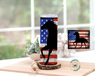Horse/Flag Skinny Tumbler Lid/Straw included