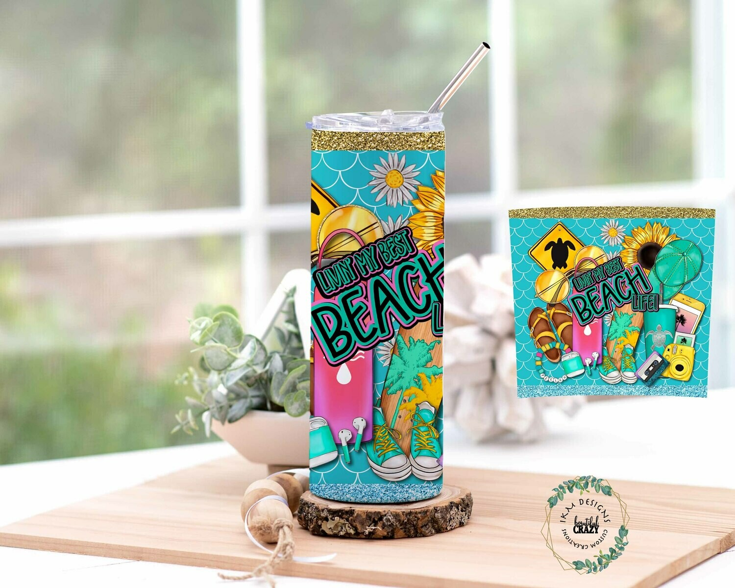 Beach Life 20oz Skinny Tumbler Lid/Straw included