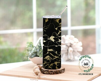 Black/Gold Skinny Tumbler Lid/Straw included