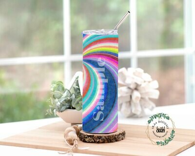 Rainbow Skinny Tumbler Lid/Straw included