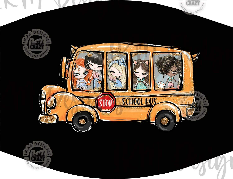 """School Bus"" Mask/ Digital Design Sublimation"