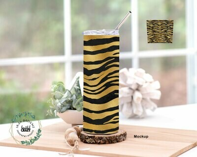 TigerStripes  Skinny Tumbler Lid/Straw included