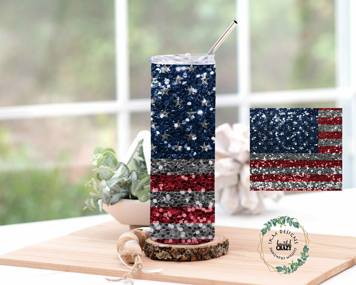 USA Skinny Tumbler Lid/Straw included