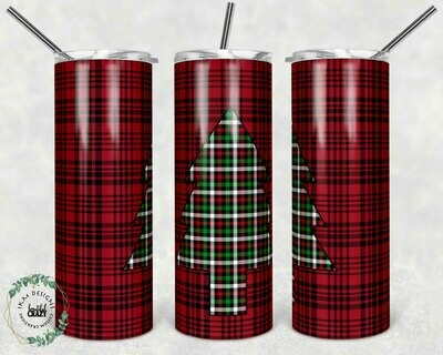 Red and Black Plaid Christmas Tree Tumbler
