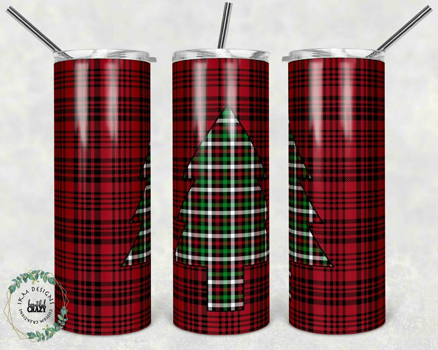 Red/Green Christmas Tree sublimation template for 20oz Tumbler