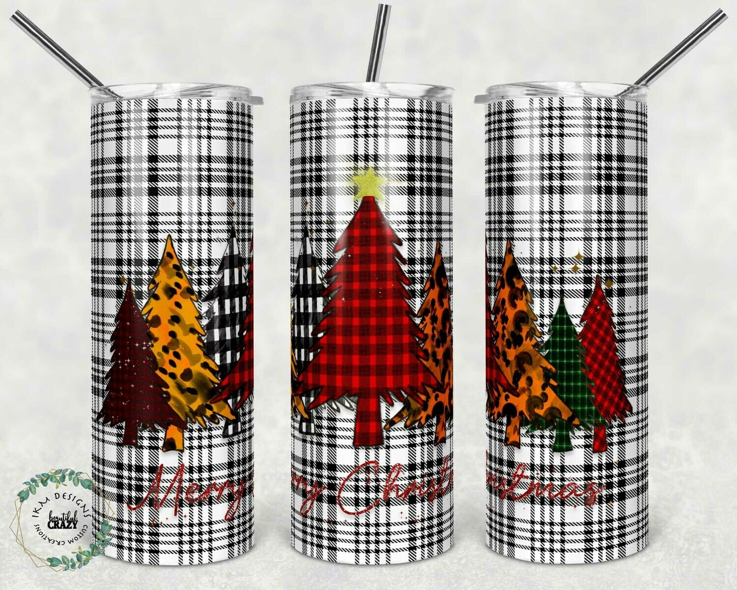 Fun Christmas Tree sublimation template for Tumbler