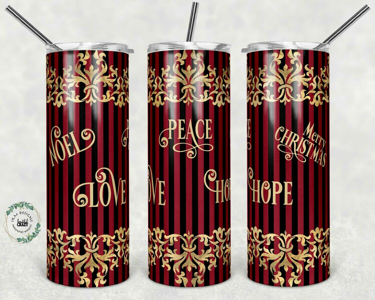 Classic Red/Gold Christmas template for sublimation Tumbler