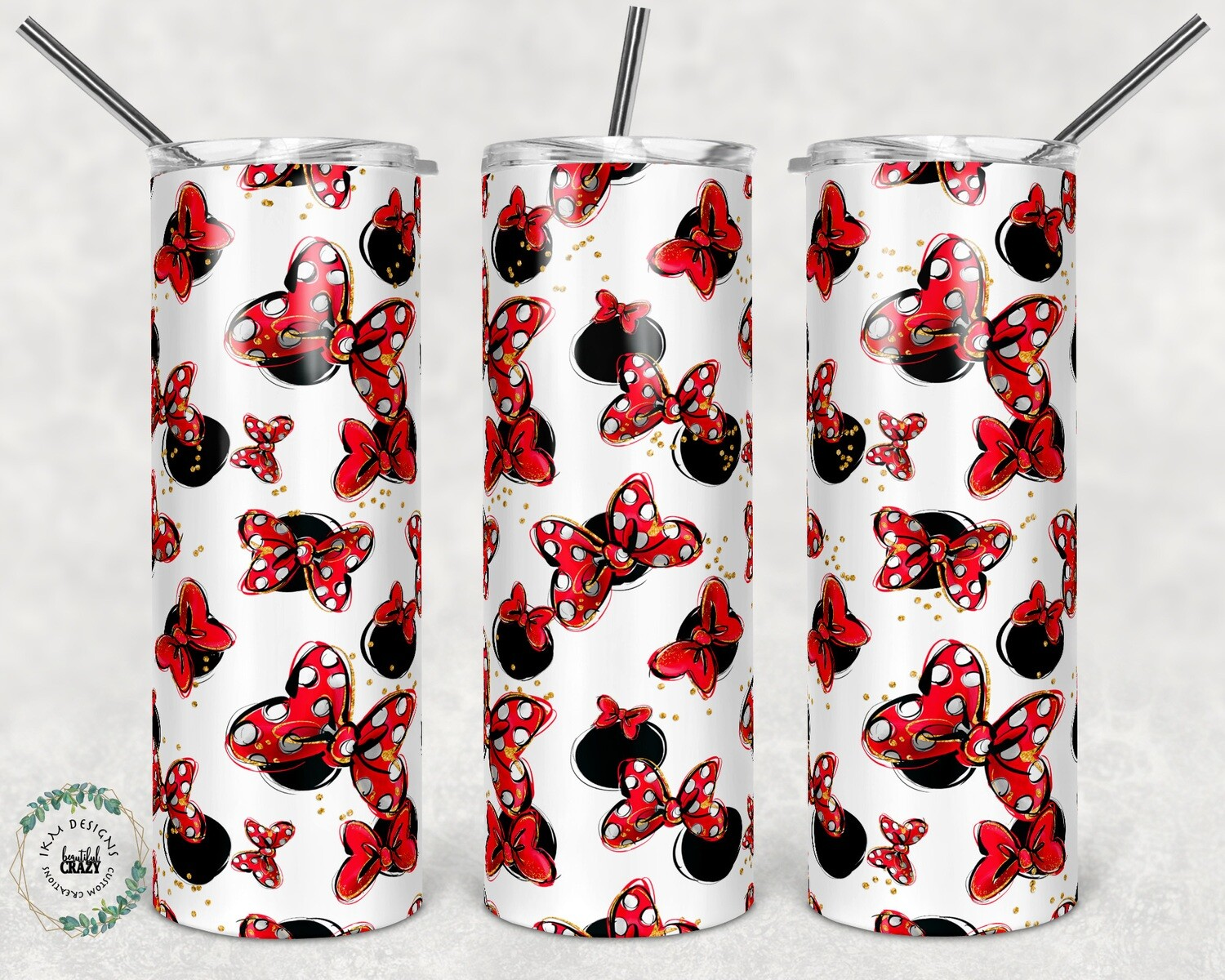 Cute red/white Bows template for 20oz Skinny Tumblers