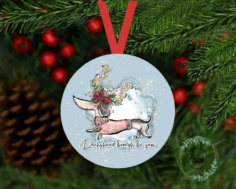 Dachshund through the snow Christmas Tree Ornament